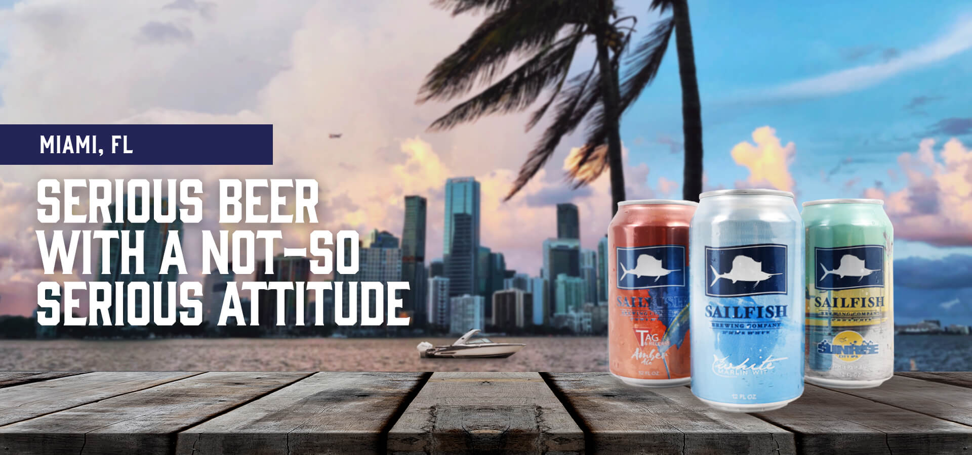 Sailfish Brewery Cans in Miami